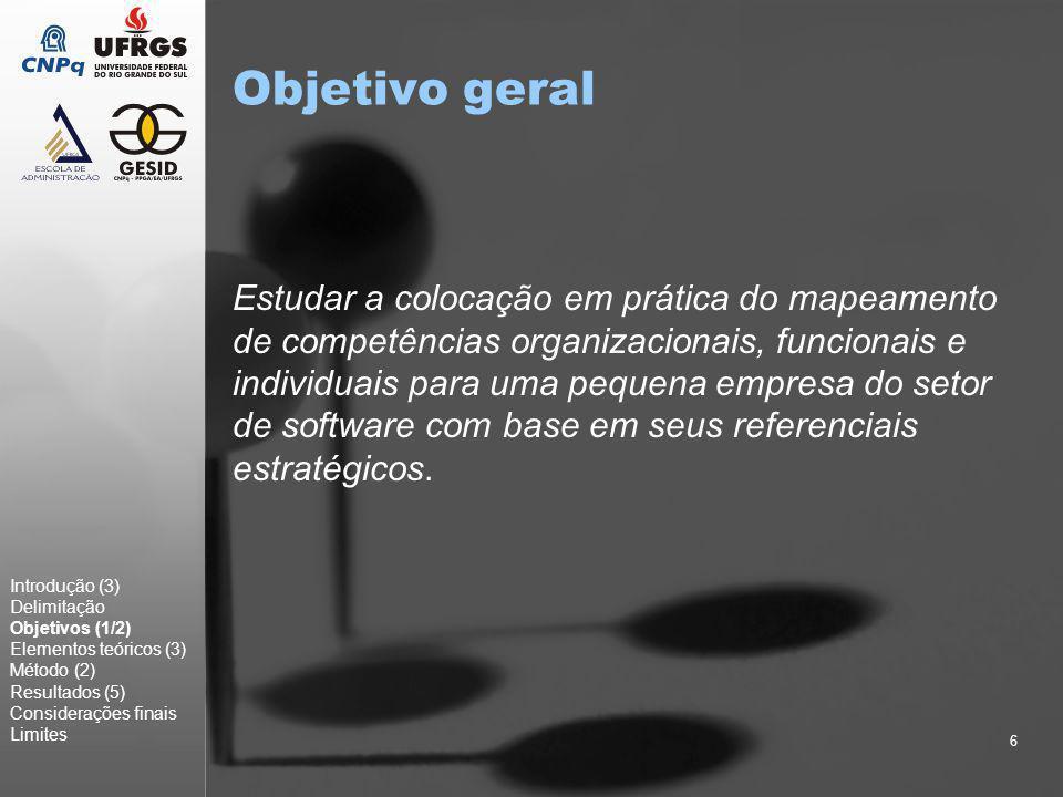 6 Objetivo geral Estudar a colocação em prática do mapeamento de competências organizacionais, funcionais e individuais para uma pequena empresa do se