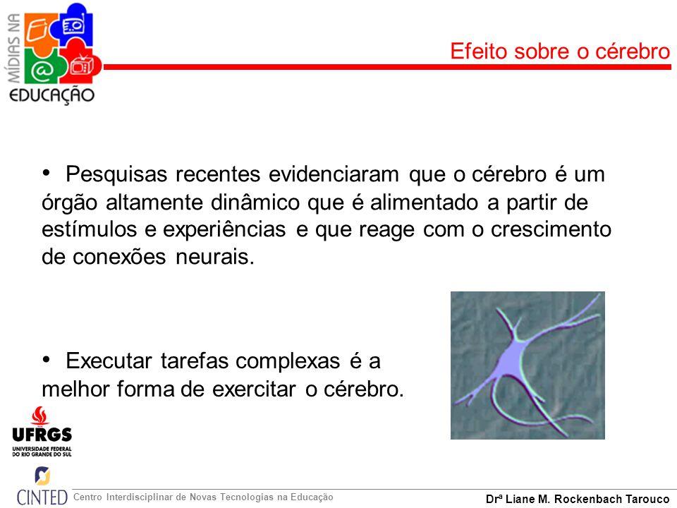 Drª Liane M. Rockenbach Tarouco Centro Interdisciplinar de Novas Tecnologias na Educação Efeito sobre o cérebro Executar tarefas complexas é a melhor
