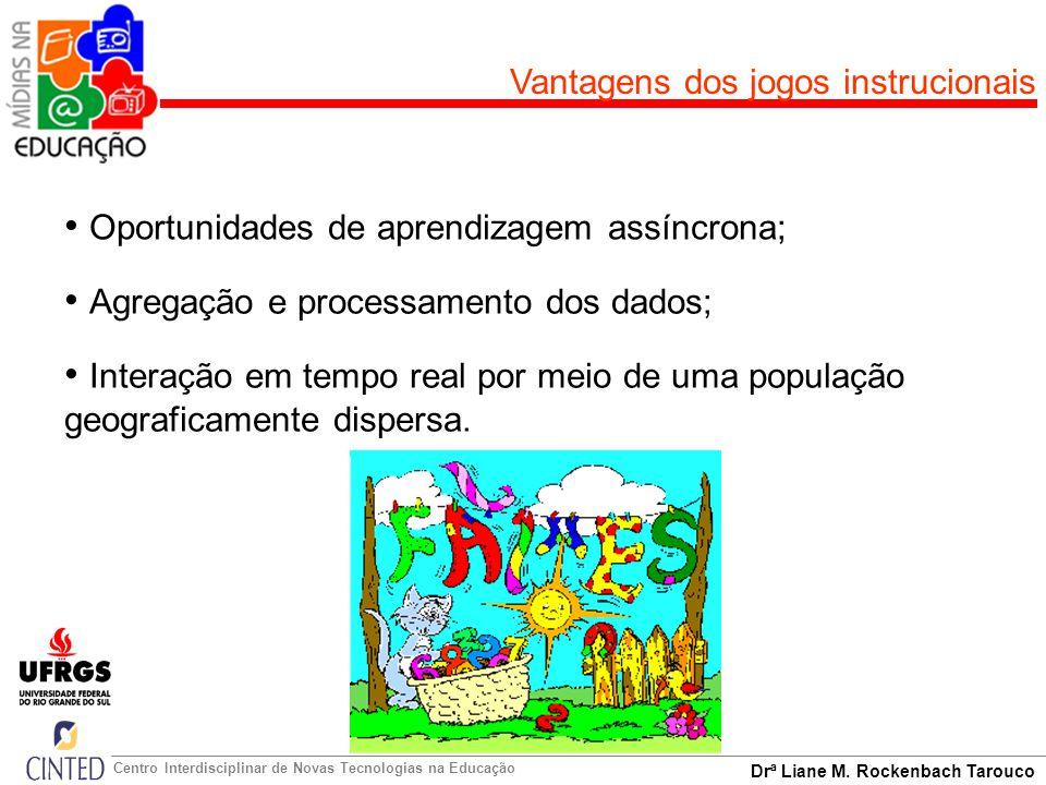 Drª Liane M. Rockenbach Tarouco Centro Interdisciplinar de Novas Tecnologias na Educação Vantagens dos jogos instrucionais Oportunidades de aprendizag