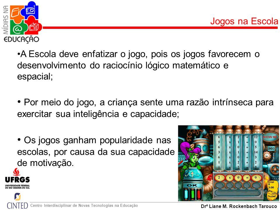 Drª Liane M. Rockenbach Tarouco Centro Interdisciplinar de Novas Tecnologias na Educação Jogos na Escola Os jogos ganham popularidade nas escolas, por