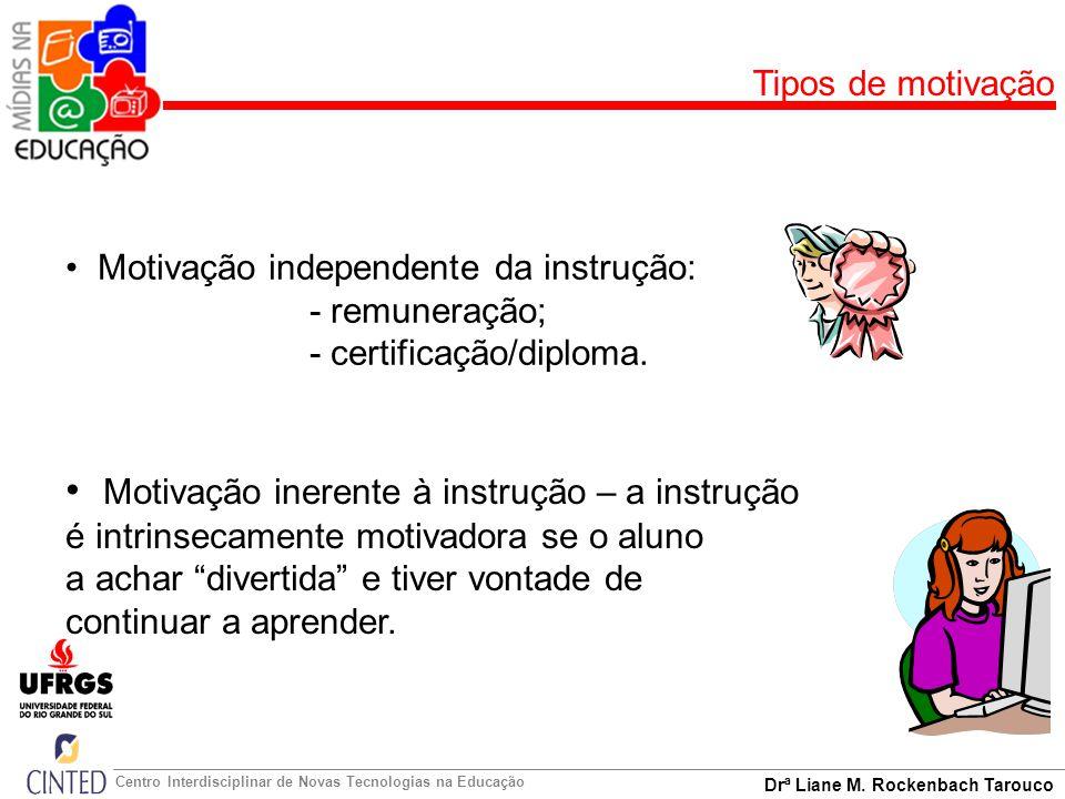 Drª Liane M. Rockenbach Tarouco Centro Interdisciplinar de Novas Tecnologias na Educação Tipos de motivação Motivação independente da instrução: - rem