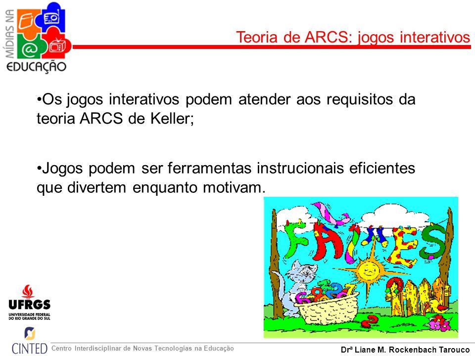 Drª Liane M. Rockenbach Tarouco Centro Interdisciplinar de Novas Tecnologias na Educação Teoria de ARCS: jogos interativos Os jogos interativos podem