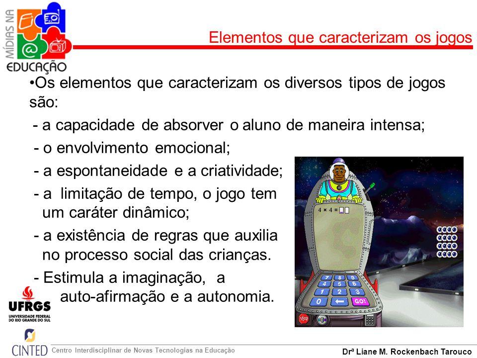 Drª Liane M. Rockenbach Tarouco Centro Interdisciplinar de Novas Tecnologias na Educação Elementos que caracterizam os jogos Os elementos que caracter