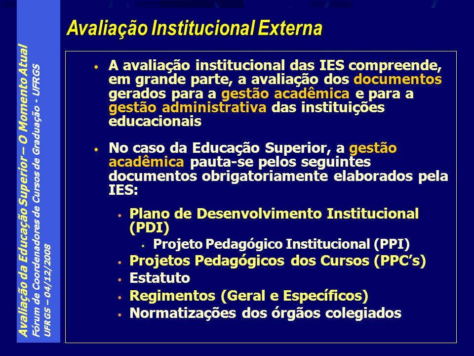 Avaliação da Educação Superior – O Momento Atual Fórum de Coordenadores de Cursos de Graduação - UFRGS UFRGS – 04/12/2008 A avaliação institucional da