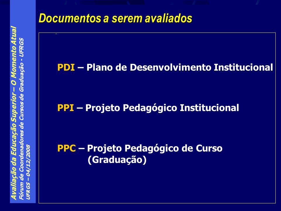Avaliação da Educação Superior – O Momento Atual Fórum de Coordenadores de Cursos de Graduação - UFRGS UFRGS – 04/12/2008 PDI Documentos a serem avali