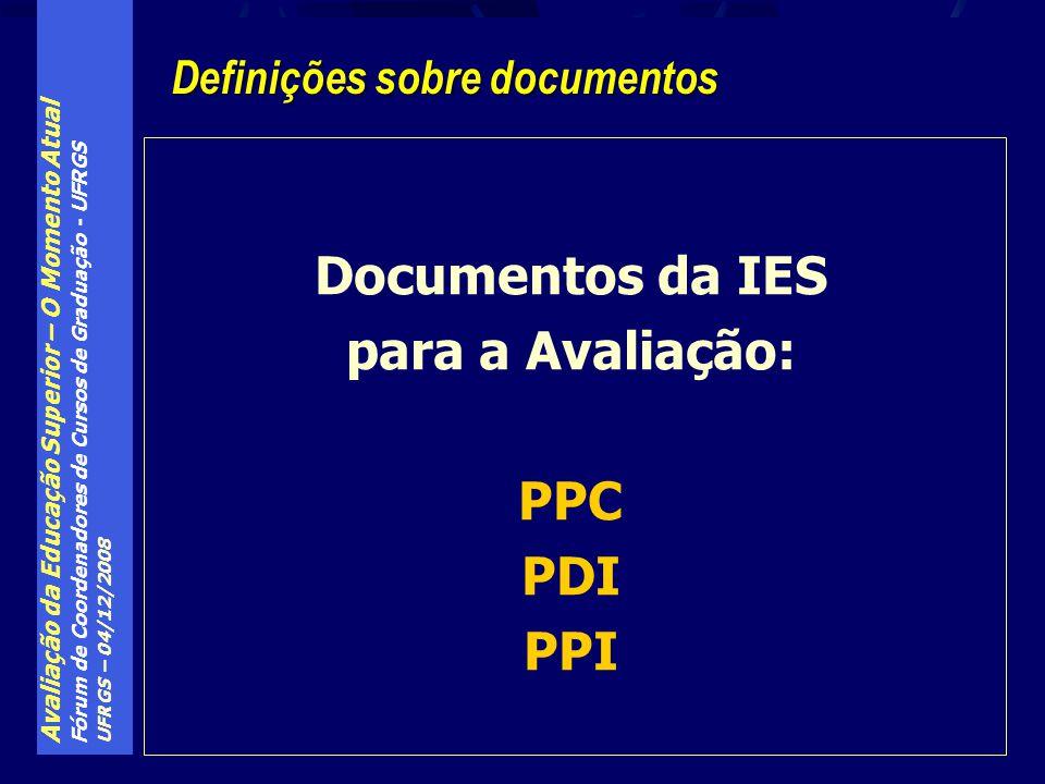 Avaliação da Educação Superior – O Momento Atual Fórum de Coordenadores de Cursos de Graduação - UFRGS UFRGS – 04/12/2008 Definições sobre documentos