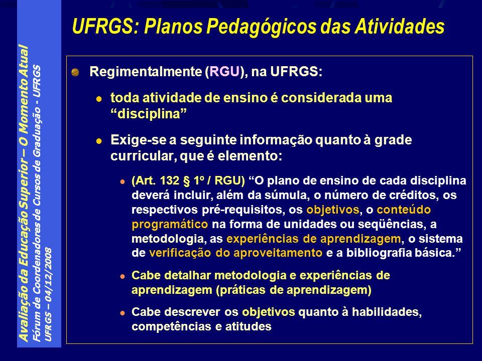 Avaliação da Educação Superior – O Momento Atual Fórum de Coordenadores de Cursos de Graduação - UFRGS UFRGS – 04/12/2008 Regimentalmente (RGU), na UF