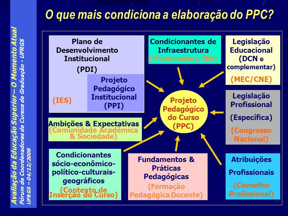 Avaliação da Educação Superior – O Momento Atual Fórum de Coordenadores de Cursos de Graduação - UFRGS UFRGS – 04/12/2008 O que mais condiciona a elab