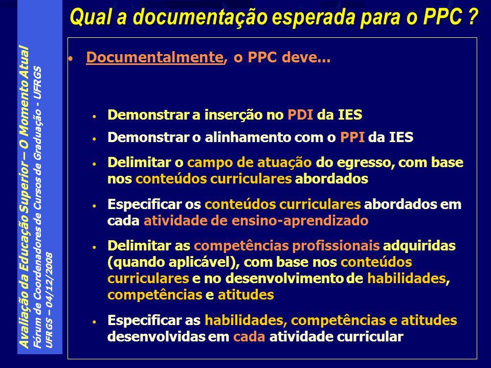 Avaliação da Educação Superior – O Momento Atual Fórum de Coordenadores de Cursos de Graduação - UFRGS UFRGS – 04/12/2008 Qual a documentação esperada