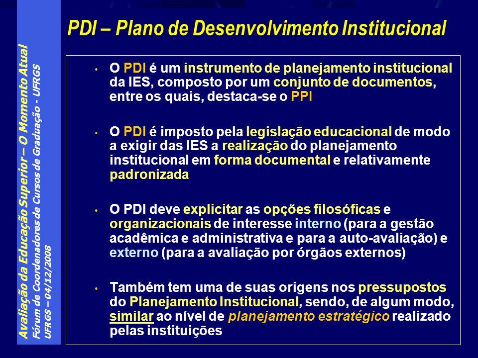 Avaliação da Educação Superior – O Momento Atual Fórum de Coordenadores de Cursos de Graduação - UFRGS UFRGS – 04/12/2008 O PDI é um instrumento de pl