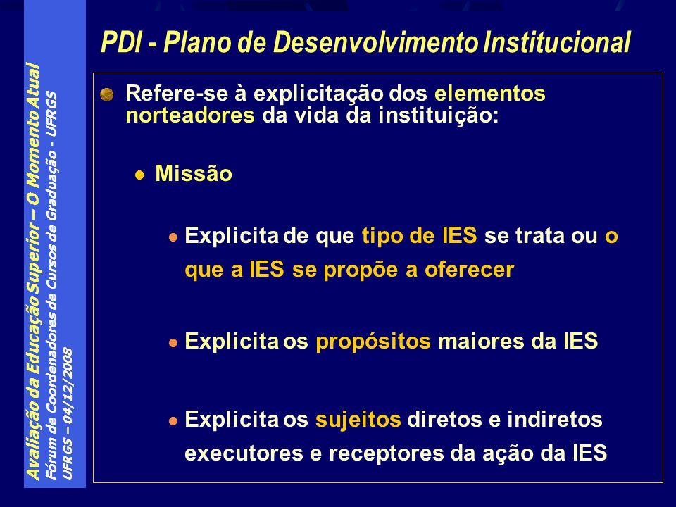 Avaliação da Educação Superior – O Momento Atual Fórum de Coordenadores de Cursos de Graduação - UFRGS UFRGS – 04/12/2008 Refere-se à explicitação dos