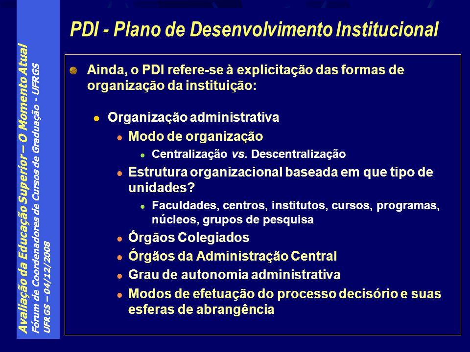 Avaliação da Educação Superior – O Momento Atual Fórum de Coordenadores de Cursos de Graduação - UFRGS UFRGS – 04/12/2008 Ainda, o PDI refere-se à exp