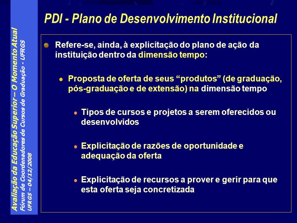 Avaliação da Educação Superior – O Momento Atual Fórum de Coordenadores de Cursos de Graduação - UFRGS UFRGS – 04/12/2008 Refere-se, ainda, à explicit