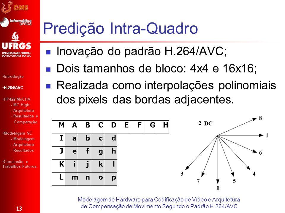 Predição Intra-Quadro 13 Modelagem de Hardware para Codificação de Vídeo e Arquitetura de Compensação de Movimento Segundo o Padrão H.264/AVC Introduç