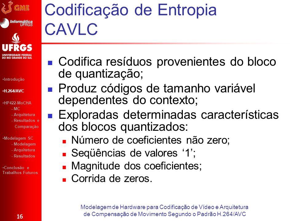 Codificação de Entropia CAVLC Codifica resíduos provenientes do bloco de quantização; Produz códigos de tamanho variável dependentes do contexto; Expl