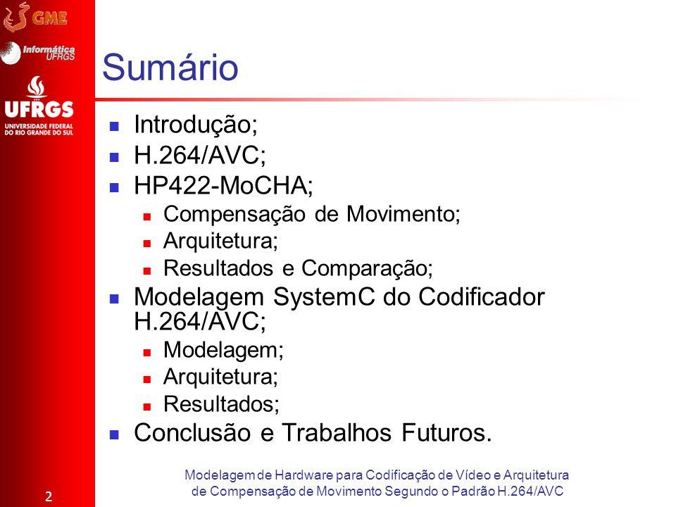 Sumário Introdução; H.264/AVC; HP422-MoCHA; Compensação de Movimento; Arquitetura; Resultados e Comparação; Modelagem SystemC do Codificador H.264/AVC
