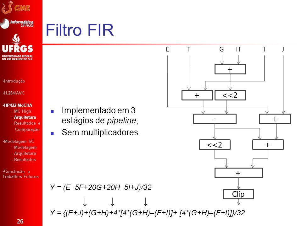 Filtro FIR Implementado em 3 estágios de pipeline; Sem multiplicadores. 26 + <<2+ -+ + + Clip EFGHIJ Y = (E–5F+20G+20H–5I+J)/32 Y = {(E+J)+(G+H)+4*[4*