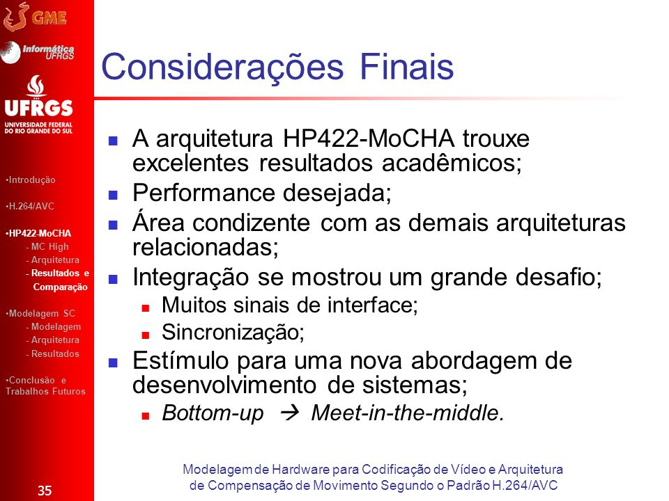 Considerações Finais A arquitetura HP422-MoCHA trouxe excelentes resultados acadêmicos; Performance desejada; Área condizente com as demais arquitetur