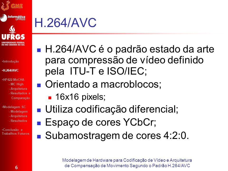 H.264/AVC é o padrão estado da arte para compressão de vídeo definido pela ITU-T e ISO/IEC; Orientado a macroblocos; 16x16 pixels; Utiliza codificação