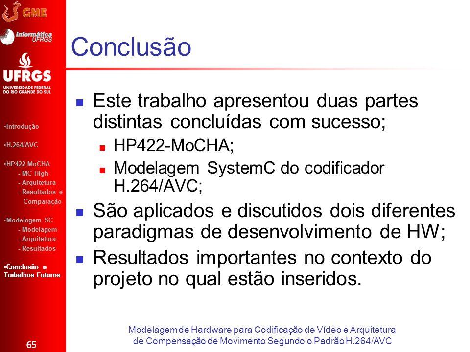 Este trabalho apresentou duas partes distintas concluídas com sucesso; HP422-MoCHA; Modelagem SystemC do codificador H.264/AVC; São aplicados e discut