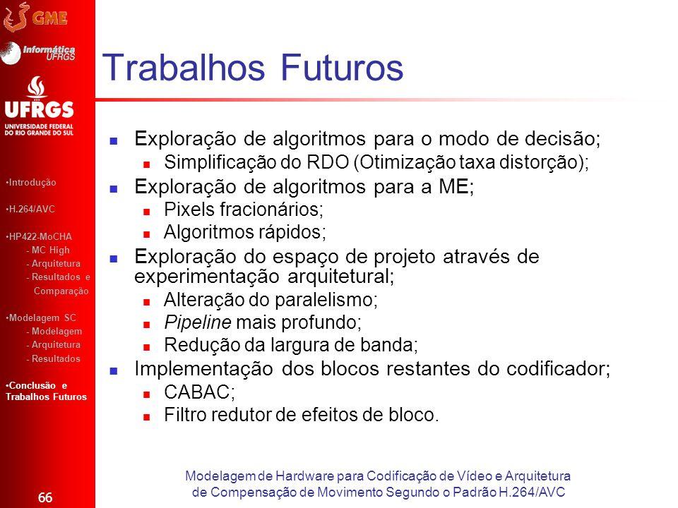 Trabalhos Futuros Exploração de algoritmos para o modo de decisão; Simplificação do RDO (Otimização taxa distorção); Exploração de algoritmos para a M