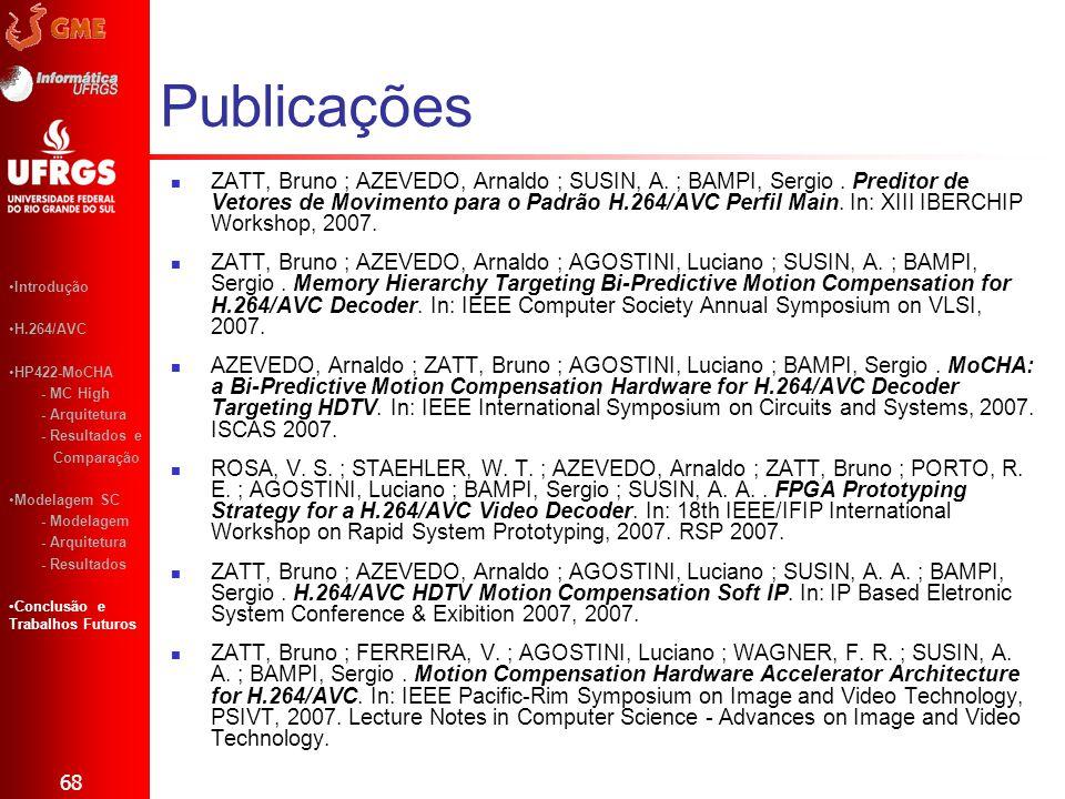 Publicações ZATT, Bruno ; AZEVEDO, Arnaldo ; SUSIN, A. ; BAMPI, Sergio. Preditor de Vetores de Movimento para o Padrão H.264/AVC Perfil Main. In: XIII