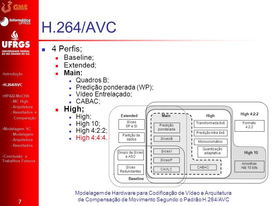 H.264/AVC 4 Perfis; Baseline; Extended; Main: Quadros B; Predição ponderada (WP); Vídeo Entrelaçado; CABAC; High; High 10; High 4:2:2; High 4:4:4. 7 M