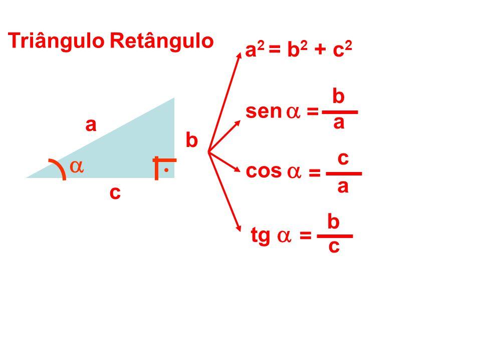 Triângulo Retângulo a b c a 2 = b 2 + c 2 b c = tg a b = sen a c = cos