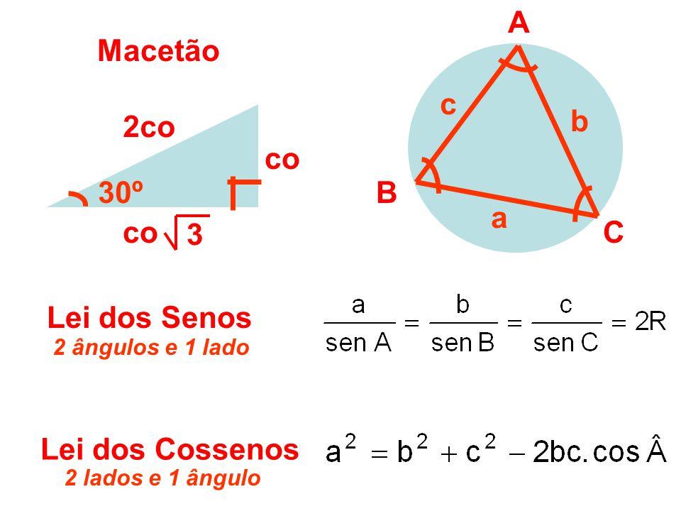 co 2co 30º co 3 Macetão Lei dos Senos A B C a b c Lei dos Cossenos 2 lados e 1 ângulo 2 ângulos e 1 lado