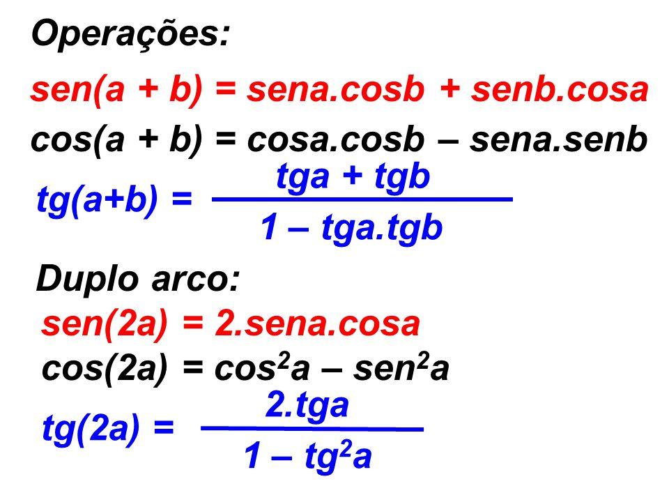 Operações: sen(a + b) = sena.cosb + senb.cosa cos(a + b) = cosa.cosb – sena.senb tg(a+b) = tga + tgb 1 – tga.tgb Duplo arco: sen(2a) = 2.sena.cosa cos