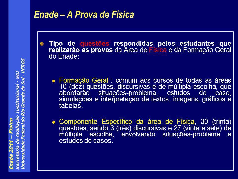 Tipo de questões respondidas pelos estudantes que realizarão as provas da Área de Física e da Formação Geral do Enade: Formação Geral : comum aos curs