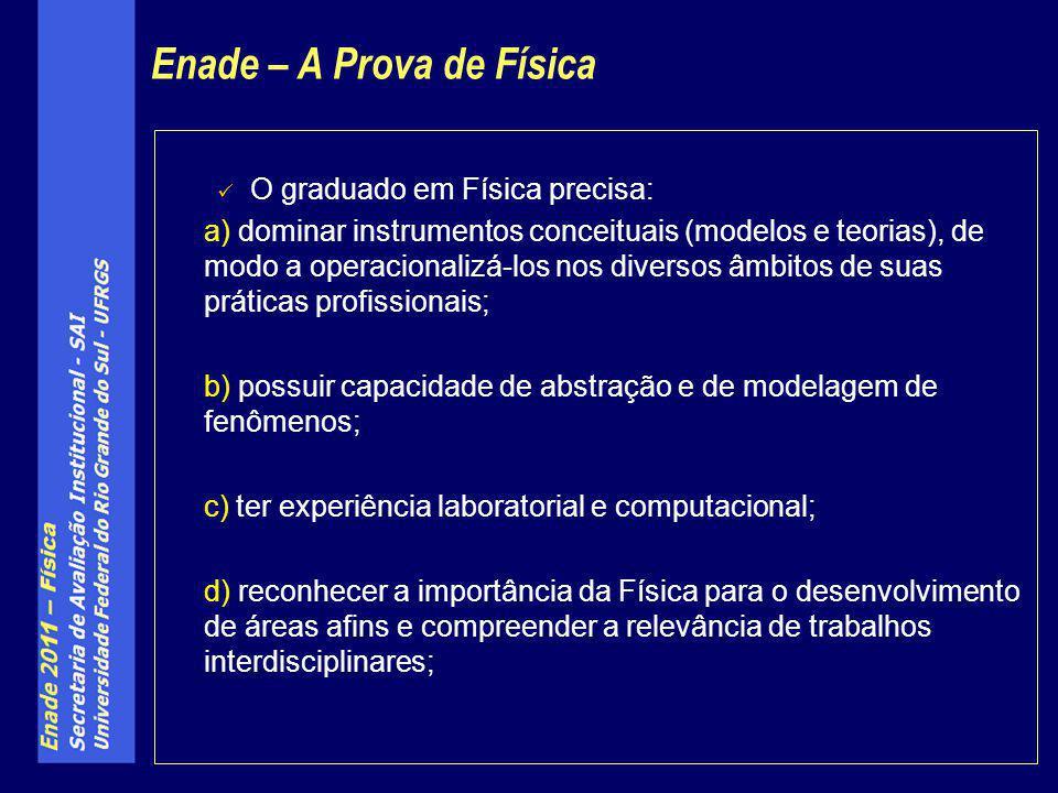 O graduado em Física precisa: a) dominar instrumentos conceituais (modelos e teorias), de modo a operacionalizá-los nos diversos âmbitos de suas práti