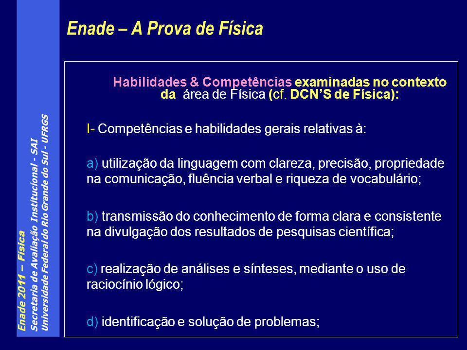 Habilidades & Competências examinadas no contexto da área de Física (cf. DCNS de Física): I- Competências e habilidades gerais relativas à: a) utiliza