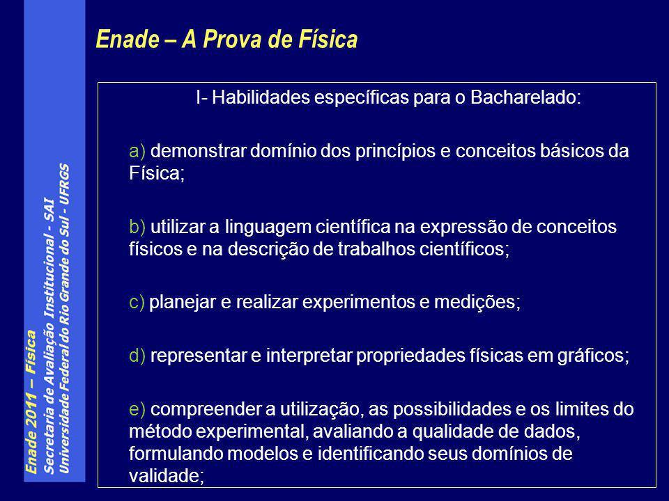 I- Habilidades específicas para o Bacharelado: a) demonstrar domínio dos princípios e conceitos básicos da Física; b) utilizar a linguagem científica