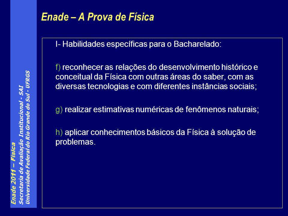 I- Habilidades específicas para o Bacharelado: f) reconhecer as relações do desenvolvimento histórico e conceitual da Física com outras áreas do saber