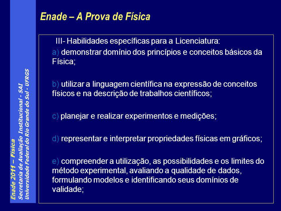 III- Habilidades específicas para a Licenciatura: a) demonstrar domínio dos princípios e conceitos básicos da Física; b) utilizar a linguagem científi