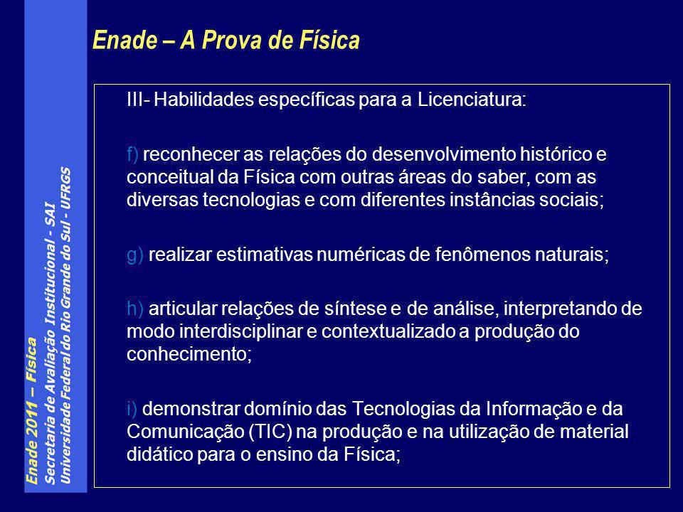 III- Habilidades específicas para a Licenciatura: f) reconhecer as relações do desenvolvimento histórico e conceitual da Física com outras áreas do sa