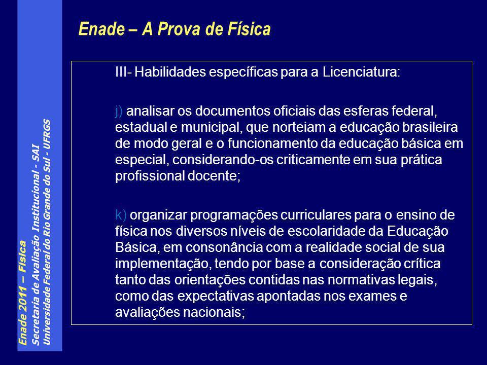 III- Habilidades específicas para a Licenciatura: j) analisar os documentos oficiais das esferas federal, estadual e municipal, que norteiam a educaçã