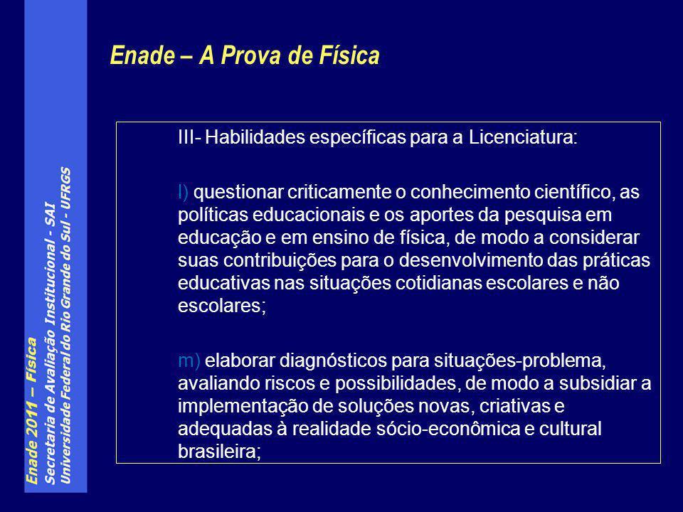 Enade – A Prova de Física III- Habilidades específicas para a Licenciatura: l) questionar criticamente o conhecimento científico, as políticas educaci