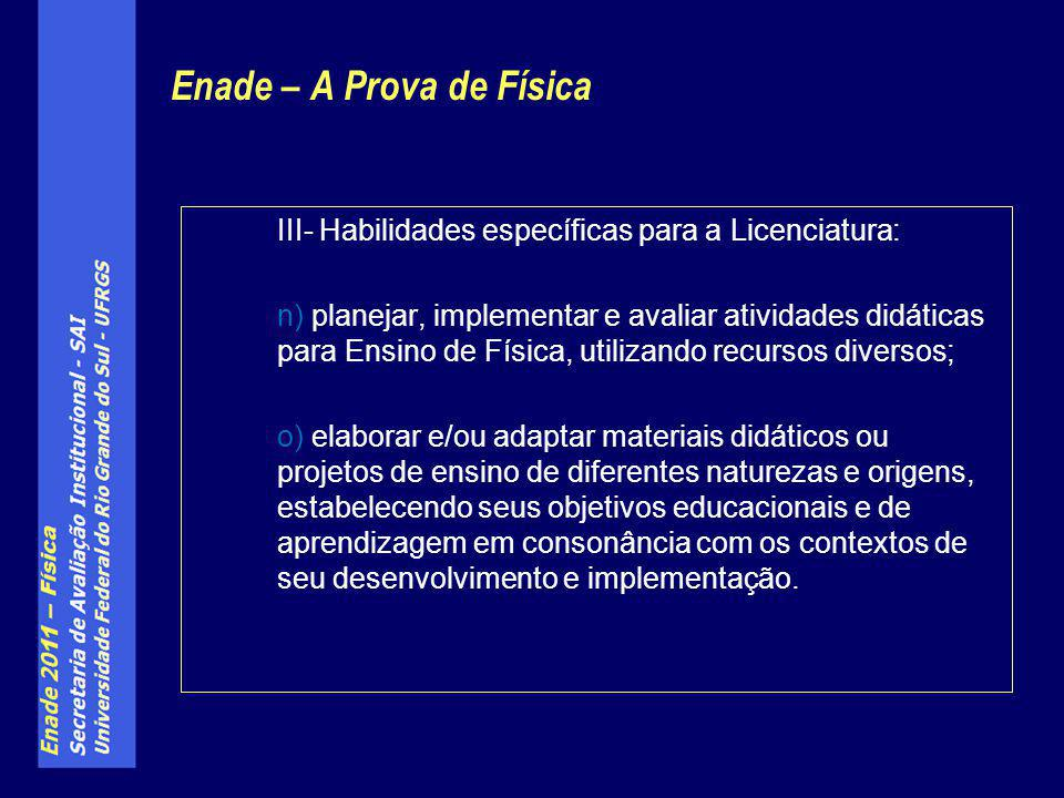 Enade – A Prova de Física III- Habilidades específicas para a Licenciatura: n) planejar, implementar e avaliar atividades didáticas para Ensino de Fís