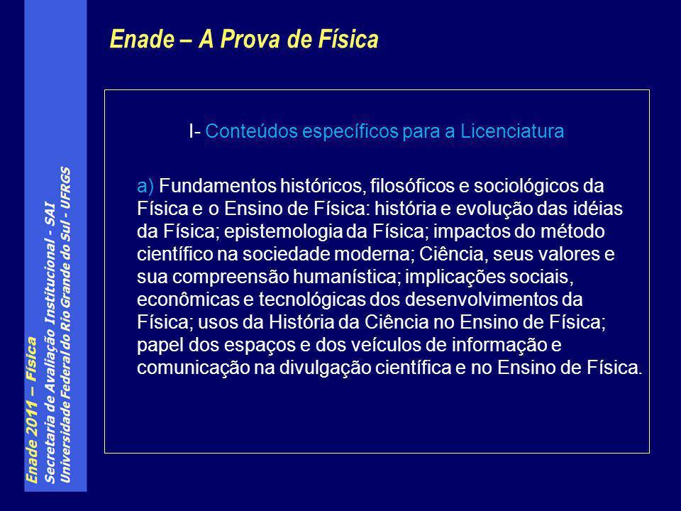 Enade – A Prova de Física I- Conteúdos específicos para a Licenciatura a) Fundamentos históricos, filosóficos e sociológicos da Física e o Ensino de F