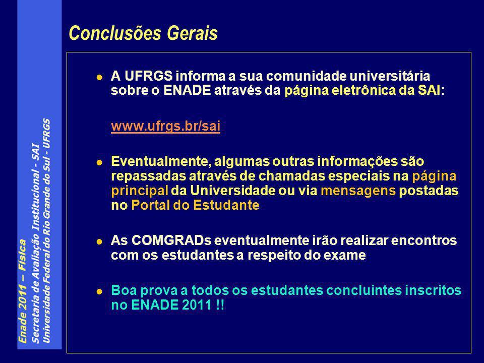 A UFRGS informa a sua comunidade universitária sobre o ENADE através da página eletrônica da SAI: www.ufrgs.br/sai Eventualmente, algumas outras infor