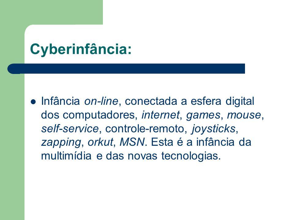 Cyberinfância: Infância on-line, conectada a esfera digital dos computadores, internet, games, mouse, self-service, controle-remoto, joysticks, zappin