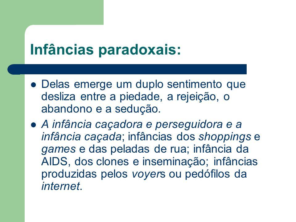 Infâncias paradoxais: Delas emerge um duplo sentimento que desliza entre a piedade, a rejeição, o abandono e a sedução. A infância caçadora e persegui