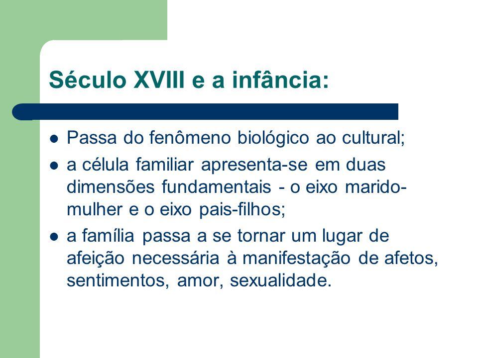 Século XVIII e a infância: Passa do fenômeno biológico ao cultural; a célula familiar apresenta-se em duas dimensões fundamentais - o eixo marido- mul