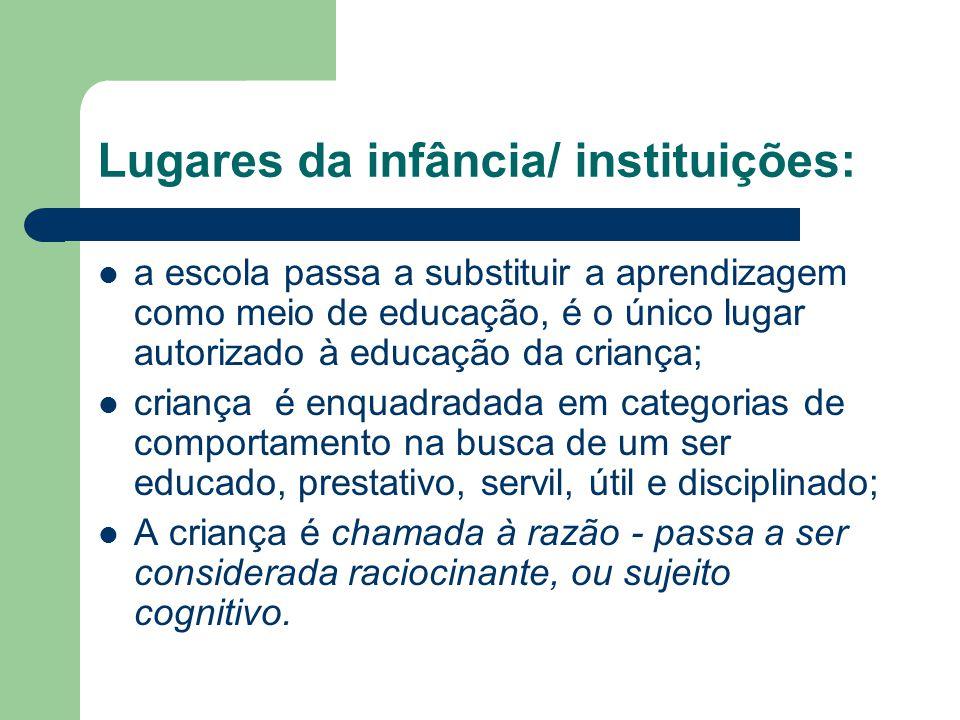 Lugares da infância/ instituições: a escola passa a substituir a aprendizagem como meio de educação, é o único lugar autorizado à educação da criança;