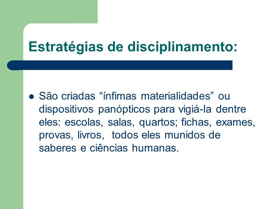 Estratégias de disciplinamento: São criadas ínfimas materialidades ou dispositivos panópticos para vigiá-la dentre eles: escolas, salas, quartos; fich