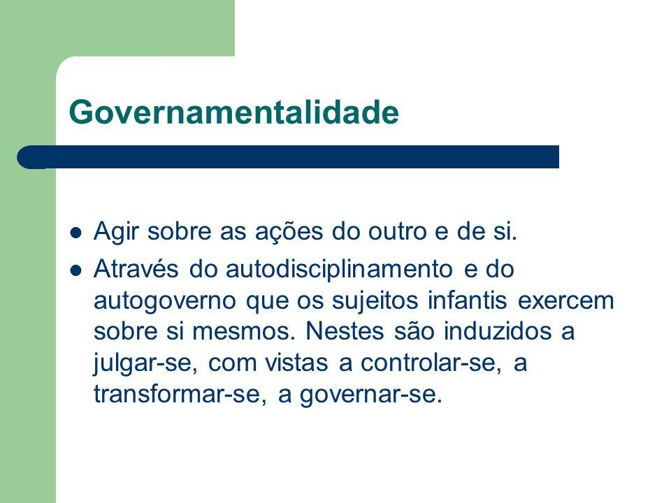 Governamentalidade Agir sobre as ações do outro e de si. Através do autodisciplinamento e do autogoverno que os sujeitos infantis exercem sobre si mes