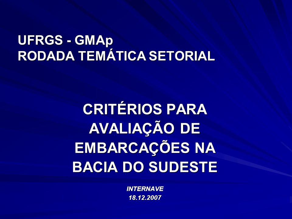 UFRGS - GMAp RODADA TEMÁTICA SETORIAL CRITÉRIOS PARA AVALIAÇÃO DE EMBARCAÇÕES NA BACIA DO SUDESTE INTERNAVE18.12.2007