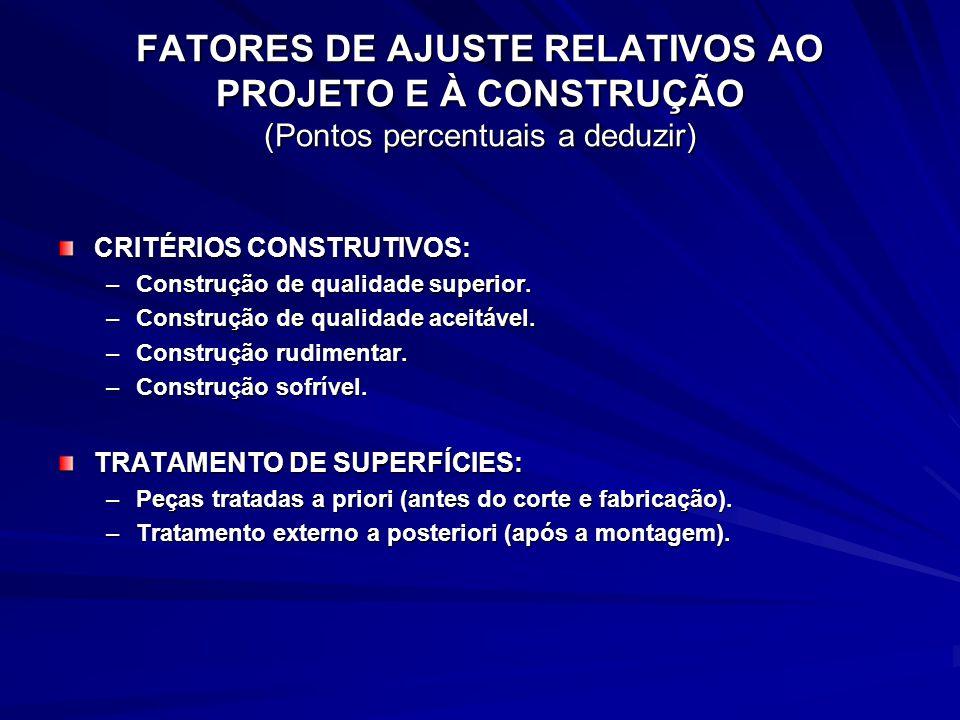 FATORES DE AJUSTE RELATIVOS AO PROJETO E À CONSTRUÇÃO (Pontos percentuais a deduzir) CRITÉRIOS CONSTRUTIVOS: –Construção de qualidade superior. –Const